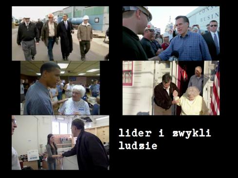Ujęcia z filmów kampanijnych (campaign film) Baracka Obamy (2008) i Mitta Romney'a (2012)